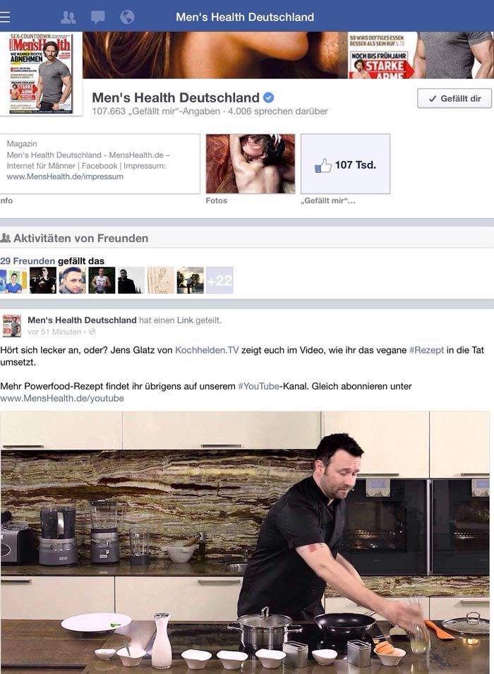 Wir sind auf der Mens Health Facevbookseite erwähnt. Juhuuu