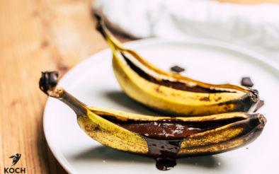 Grgeillte Bananen mit Schokolade - www.kochhelden.tv