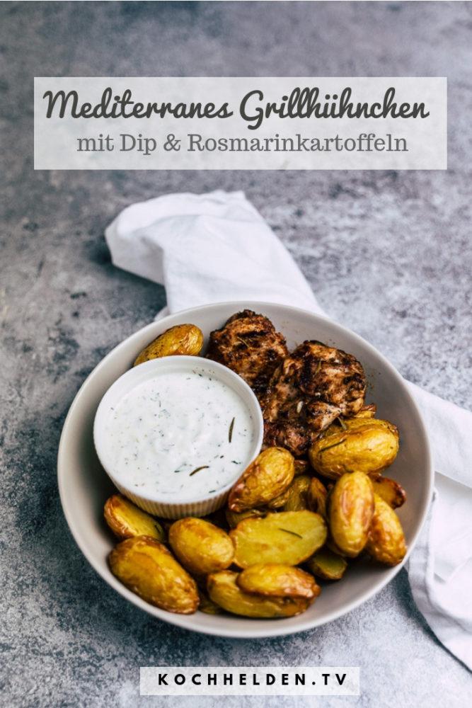 Mediterranes Grillhühnchen mit Rosmarinkartoffeln - www.kochhelden.tv